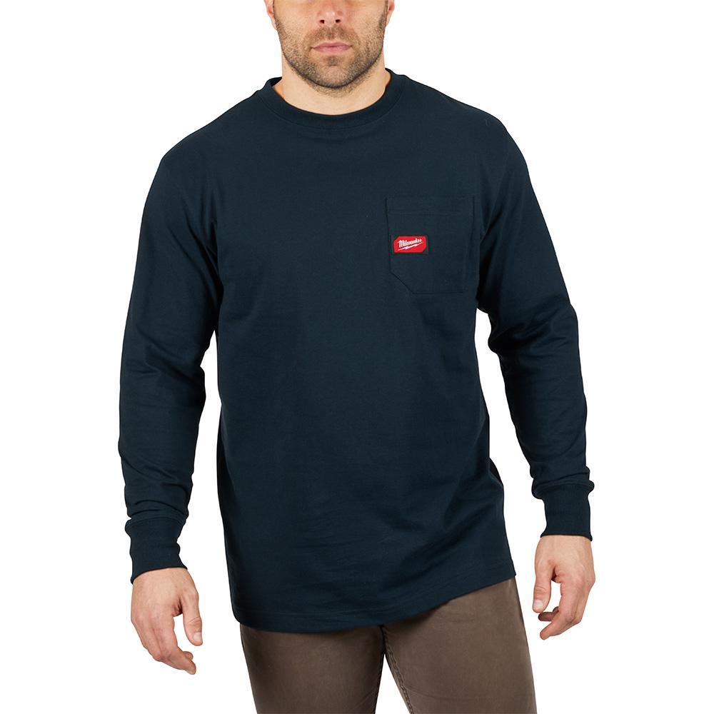 Men's 2X-Large Blue Heavy Duty Cotton/Polyester Long-Sleeve Pocket T-Shirt