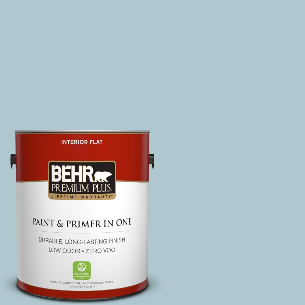 BEHR Premium Plus 1-gal. #HDC-SM14-8 Floating Blue Zero VOC Flat Interior Paint