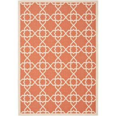 Courtyard Terracotta/Beige 9 ft. x 12 ft. Indoor/Outdoor Rectangle Area Rug