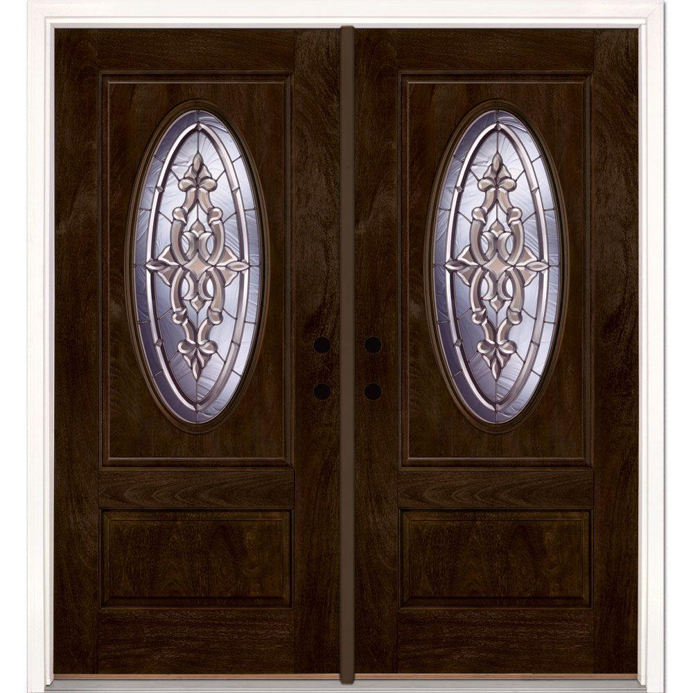 Feather River Doors 74 in.x81.625 in. Silverdale Zinc 3/4 Oval Lt Stained Chestnut Mahogany Right-Hand Fiberglass Double Prehung Front Door