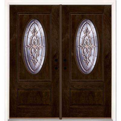 74 in.x81.625 in. Silverdale Zinc 3/4 Oval Lt Stained Chestnut Mahogany Right-Hand Fiberglass Double Prehung Front Door