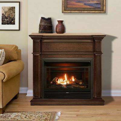 41.75 in. 26,000 BTU Ventless Dual Fuel Gas Fireplace in Gingerbread with T-Stat Control