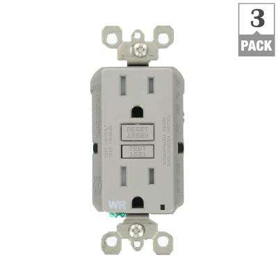 15 Amp 125-Volt Duplex Self-Test Tamper Resistant/Weather Resistant GFCI Outlet, Gray (3-Pack)
