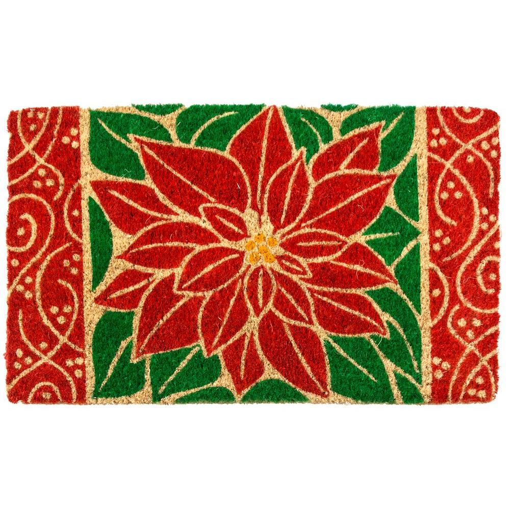 Perfect Poinsettia 18 in. x 30 in. Coir Door Mat