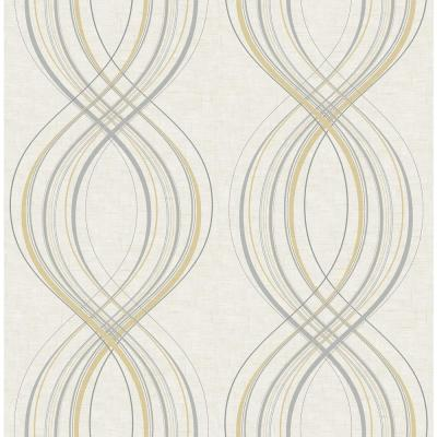 Jeannie Weave Metallic Gold and Gray Wallpaper