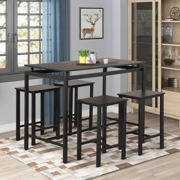 Espresso 5-Piece Wood and Metal Pub Table Dining Set with 4-Bar Stools