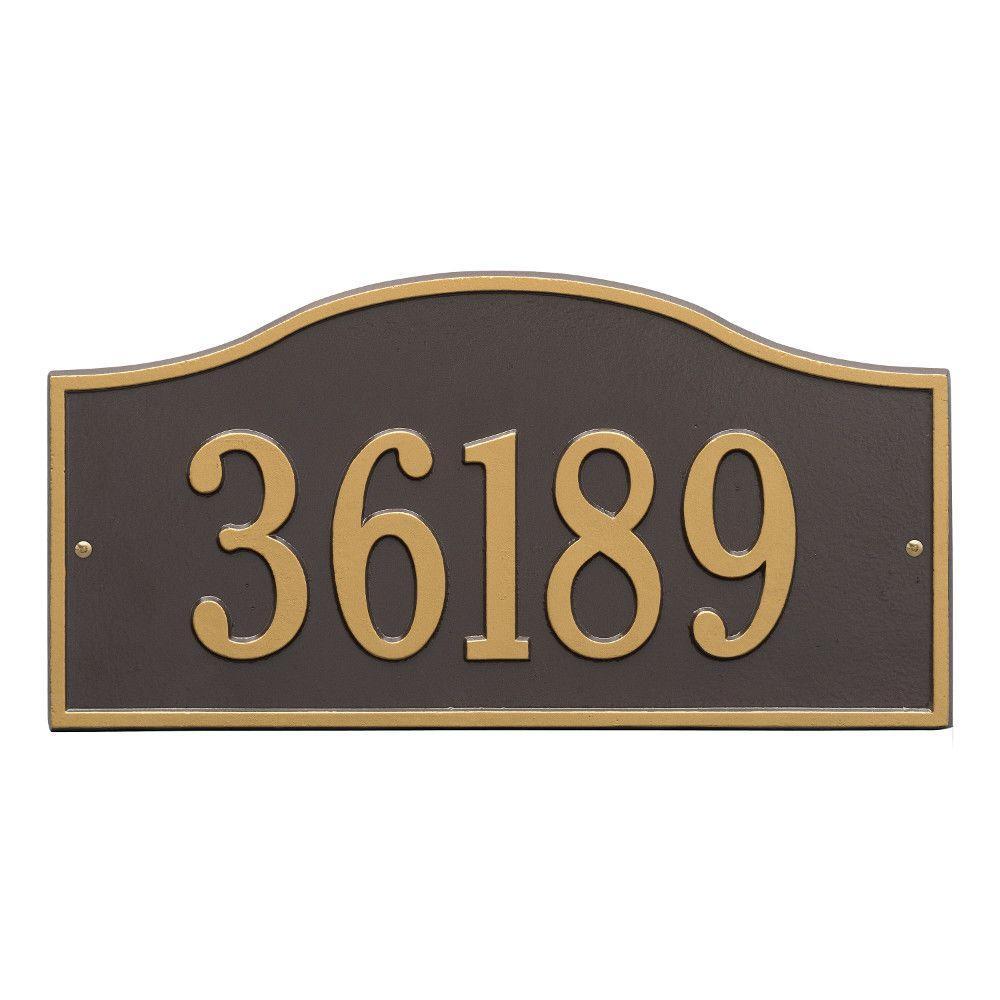 Rolling Hills Rectangular Bronze/Gold Grande Wall One Line Address Plaque