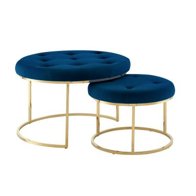 Draven Nesting Ottoman Navy/Gold Velvet Button Tufted Metal Frame (Set of 2)