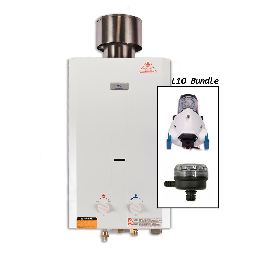 Null Eccotemp L10 Gas Portable Outdoor Tankless Water Heater With Flojet  Pump, Strainer, And