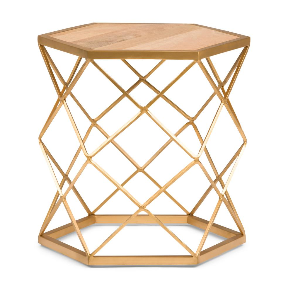 Simpli Home Kristy Natural And Gold Metal Wood Accent Table