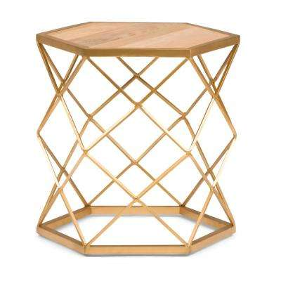 Kristy Natural And Gold Metal Wood Accent Table