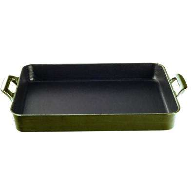 Shallow Cast Iron Roasting Pan with Enamel in Green