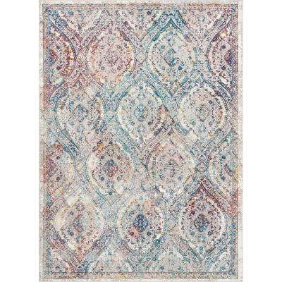 Allure Ava Ivory Vintage Mosaic Ogee Persian 7 ft. 10 in. x 9 ft. 10 in. Area Rug