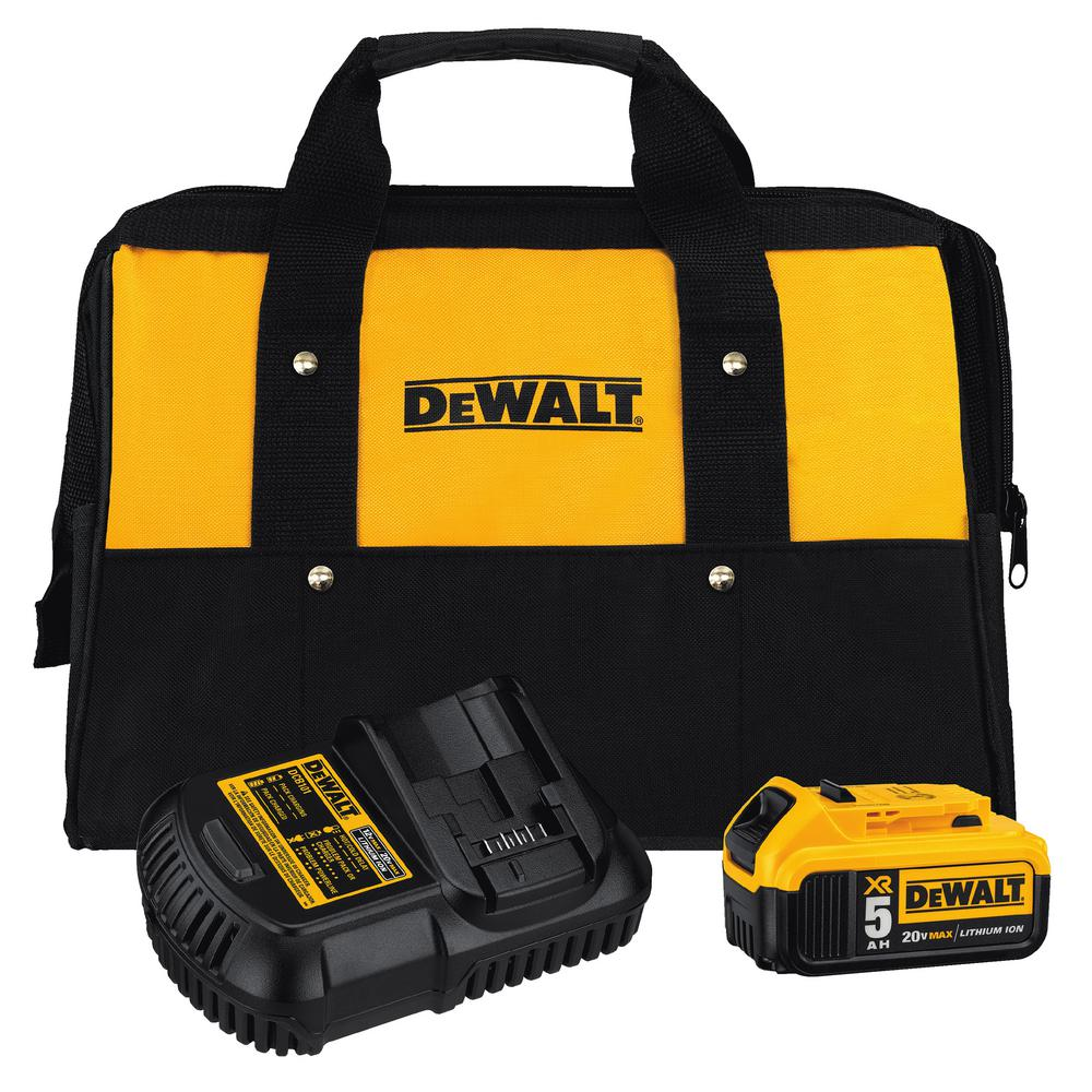 Dewalt 20 Volt Max Xr Lithium Ion Starter Kit With Premium Battery Pack 5 0ah Charger And Bag