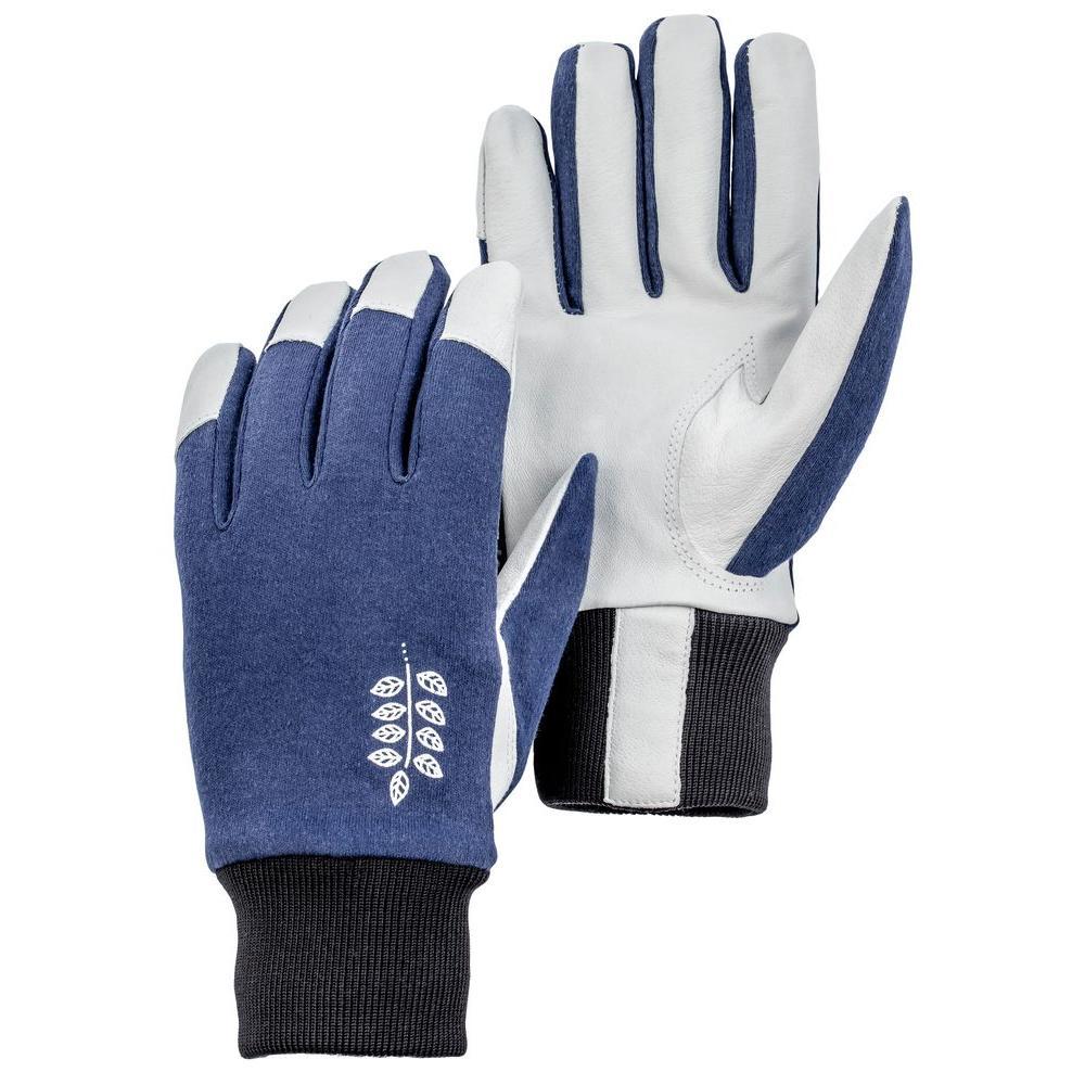 Job Garden Facilis Size 8 Medium Lightweight Pigskin Leather Glove Indigo/Black/White