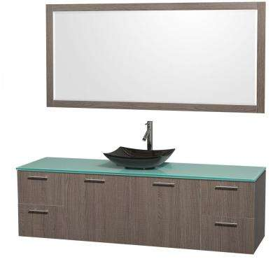 Amare 72 in. Vanity in Gray Oak with Glass Vanity Top in Green, Granite Sink and 70 in. Mirror