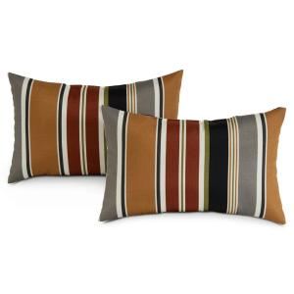 Brick Stripe Lumbar Outdoor Throw Pillow (2-Pack)
