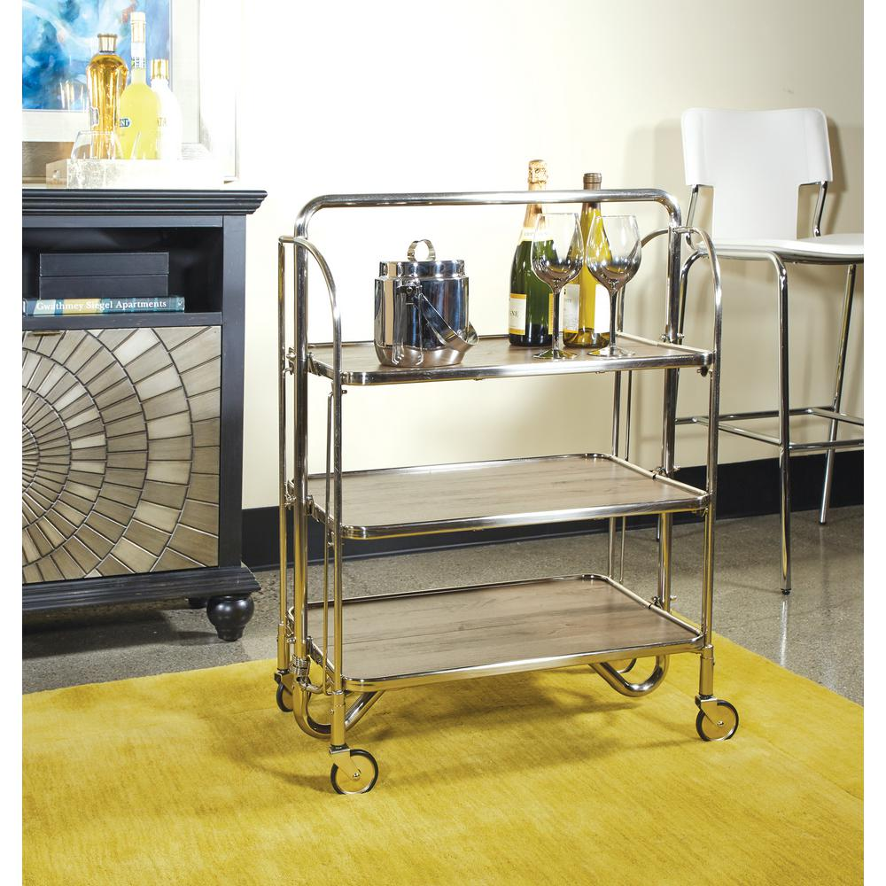 OSP Home Furnishings Sarita Brushed Nickel Folding Bar Cart with 3-Tiers K/D with Casters OSP Home Furnishings Sarita Brushed Nickel Folding Bar Cart with 3-Tiers K/D with Casters