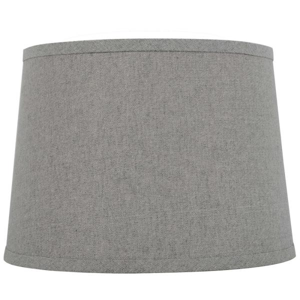 Mix and Match 14 in. Diax 10 in. H Gray with Silver Sparkle Round Table Lamp Shade