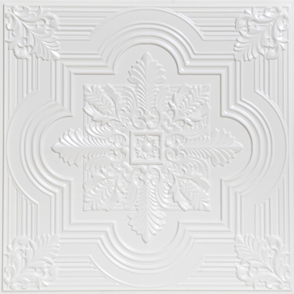 From Plain To Beautiful In Hours Large Snowflake 2 ft. x 2 ft. PVC Glue-up or Lay-in Ceiling Tile in White Pearl
