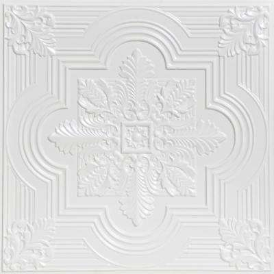 Large Snowflake 2 ft. x 2 ft. PVC Glue-up or Lay-in Ceiling Tile in White Pearl