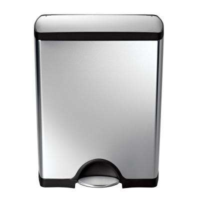50-Liter Fingerprint-Proof Brushed Stainless Steel Rectangular Step-On Trash Can