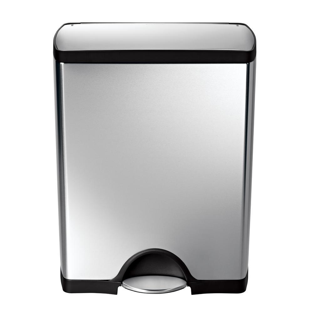 simplehuman 50 liter fingerprint proof brushed stainless steel rectangular step on trash can. Black Bedroom Furniture Sets. Home Design Ideas