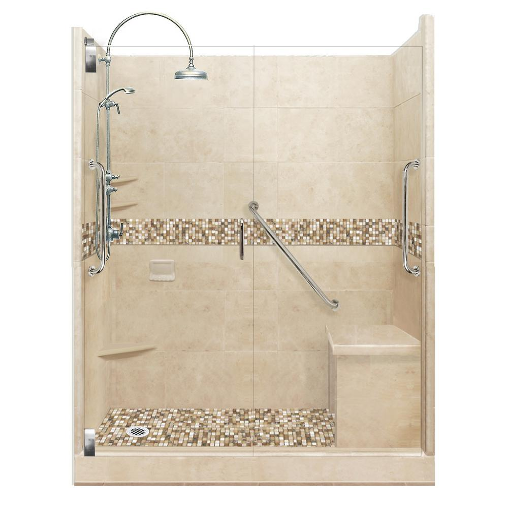 American Bath Factory Roma Freedom Luxe Hinged 34 in. x 60 in. x 80 in. Left Drain Alcove Shower Kit in Brown Sugar and Chrome Hardware