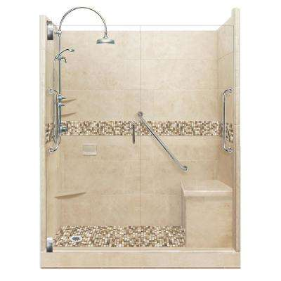 Roma Freedom Luxe Hinged 42 in. x 60 in. x 80 in. Left Drain Alcove Shower Kit in Brown Sugar and Satin Nickel Hardware