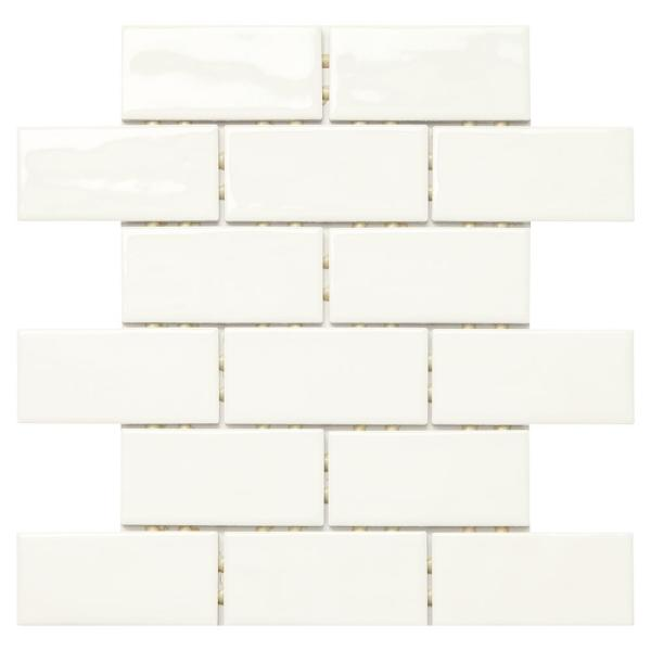 LuxeCraft 12 in. x 12 in. x 6.35 mm White Brick Joint Ceramic Mosaic Tile (0.83 sq. ft. / piece)