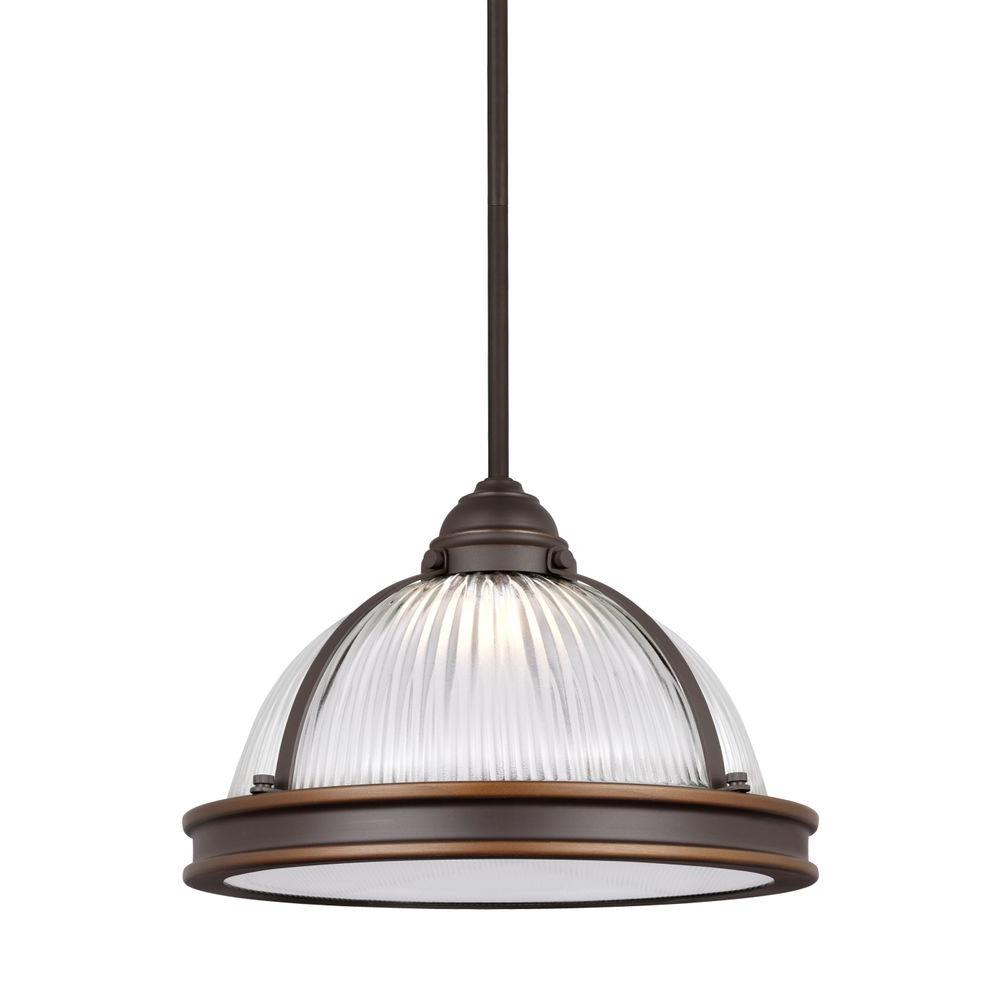 Sea Gull Lighting Pratt Street Prismatic 14-Watt Autumn Bronze Integrated LED Pendant  sc 1 st  Home Depot & Sea Gull Lighting Pratt Street Prismatic 14-Watt Autumn Bronze ...