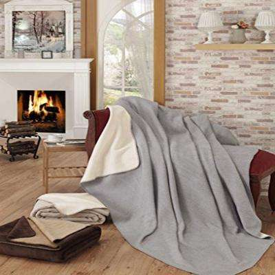 50 in. W x 65 in. L Gray and Ivory Reversible Soft Cotton Cozy Fleece Blanket