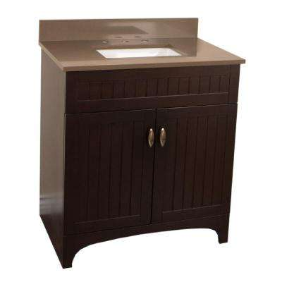 Rialto 32 in. W x 22 in. D Single Vanity in Sable Walnut with Quartz Vanity Top in Taupe with White Basin