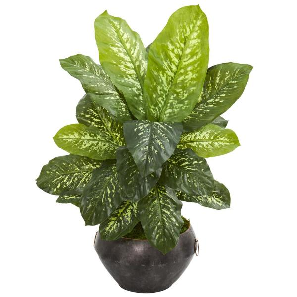Nearly Natural 35 in. Dieffenbachia Artificial Plant in Metal Bowl (Real
