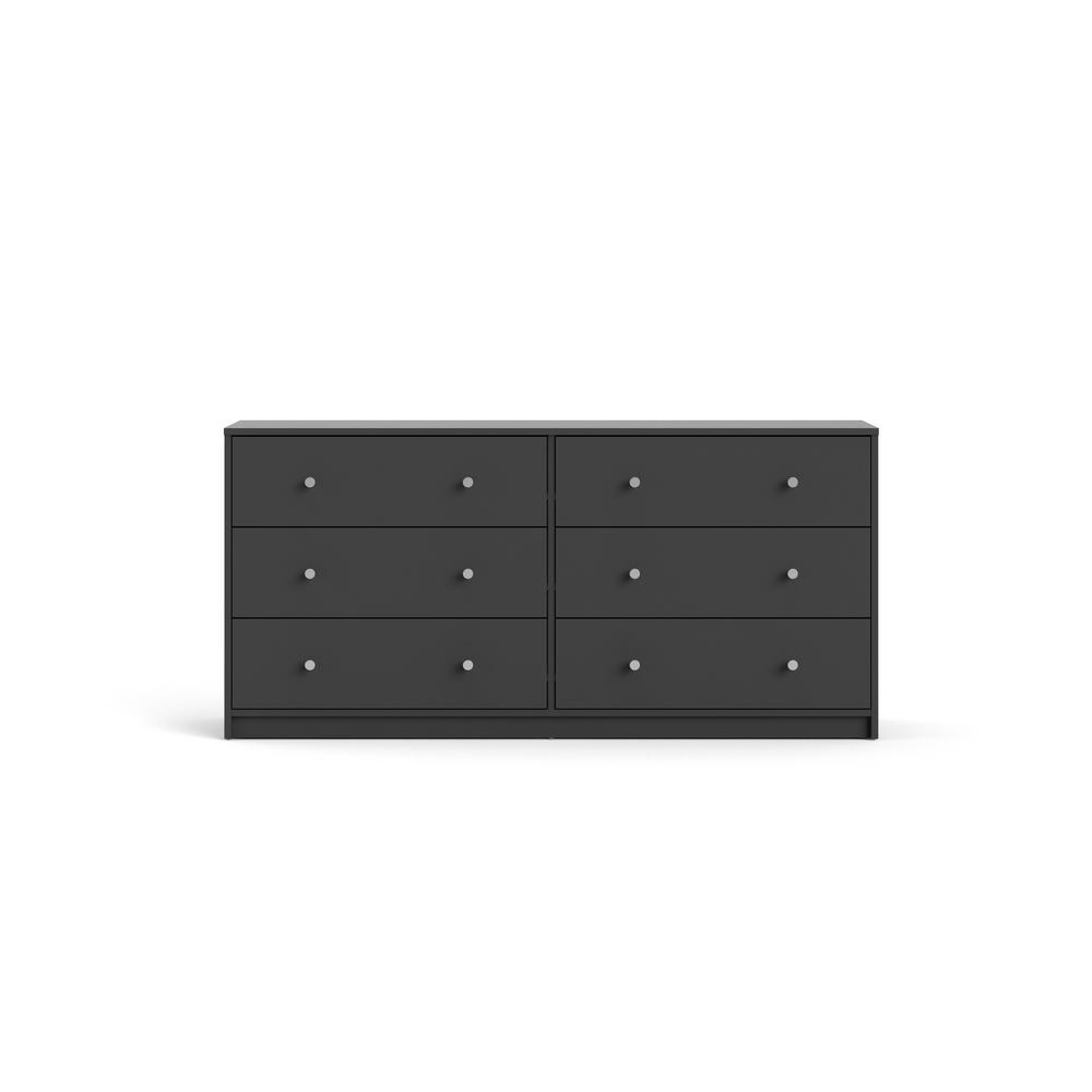 Portland 6-Drawer Double Dresser in Gray 26.89 in. H x 56.34 in. W x 12.46 in. D