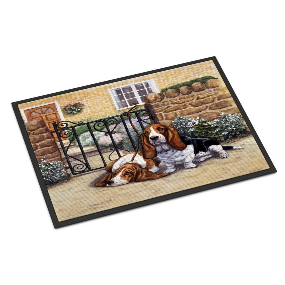 18 in. x 27 in. Indoor/Outdoor Basset Hound at The Gate Door Mat