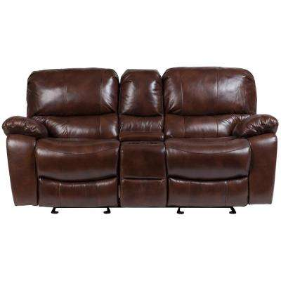 Ramsey Cognac Brown Transitional Top Grain Leather Reclining Console Loveseat