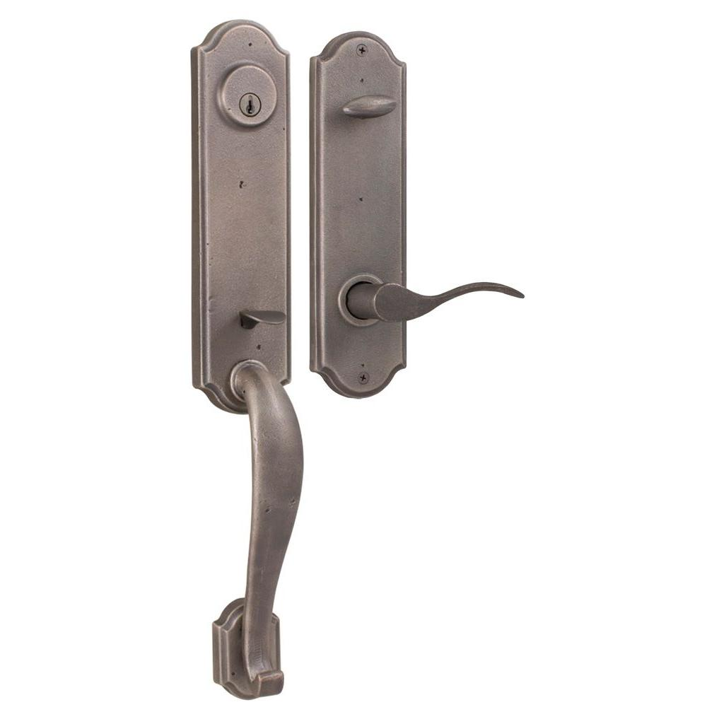 Weslock Molten Bronze Weathered Pewter Left Hand Stonebriar Singlel Cylinder Handleset with Carlow Lever-DISCONTINUED