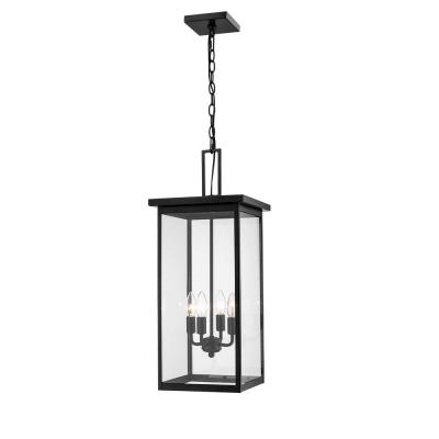 4-Light 13 in. Powder Coat Black Outdoor Lantern Pendant