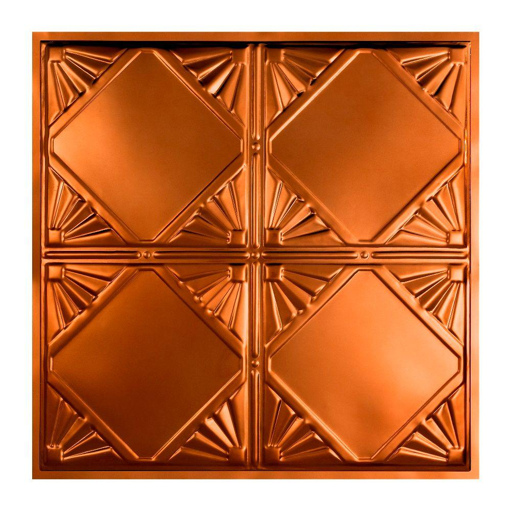 Great lakes tin erie 2 ft x 2 ft lay in tin ceiling tile in lay in tin ceiling tile in copper y56 08 the home depot dailygadgetfo Image collections