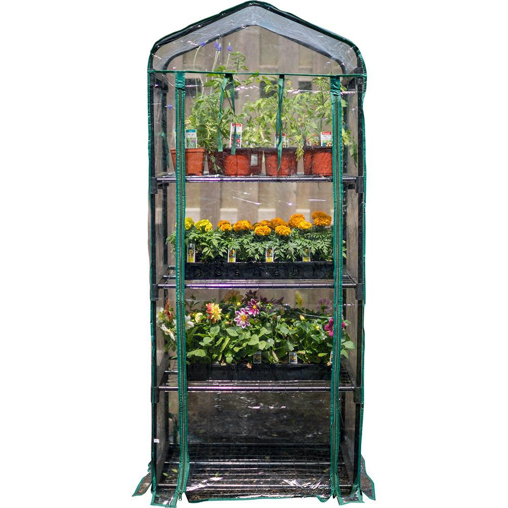 5 ft. 3 in. H x 2 ft. 3 in. W x 1 ft. 6 in. D 4-Tier Mini Greenhouse