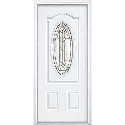 36 in. x 80 in. Chatham 3/4 Oval Jet Black Right-Hand Inswing Painted Smooth Fiberglass Prehung Front Door w/ Brickmold