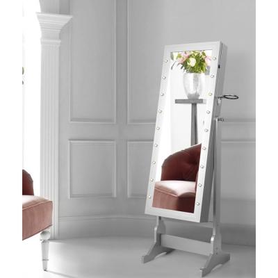 Amelie Marquee LED Light Cheval Floor Mirror Grey Jewelry Armoire Organizer