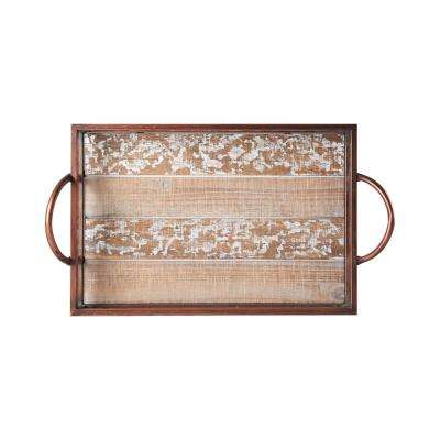 22 in. Rustic Rectangle Wood Tray