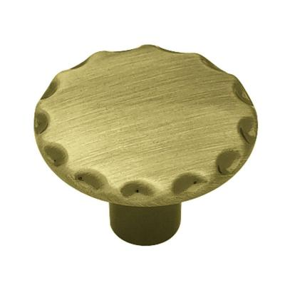 1-1/8 in. (28mm) Antique Brass Scallop Edge Round Cabinet Knob