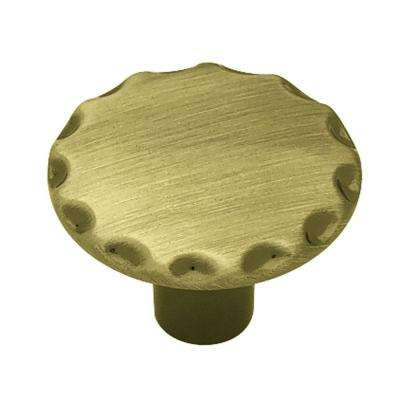 1-1/8 in. (28mm) Antique Brass Scallop Edge Round Cabinet Knob