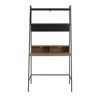 36 in. Mocha Urban Industrial Mid Century Modern Metal and Wood Ladder Desk