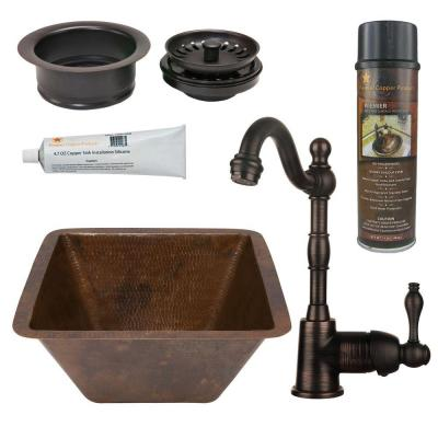 All-in-One Dual Mount Copper 15 in. Square Bar/Prep Sink with Faucet and Garbage Disposal Drain in Oil Rubbed Bronze