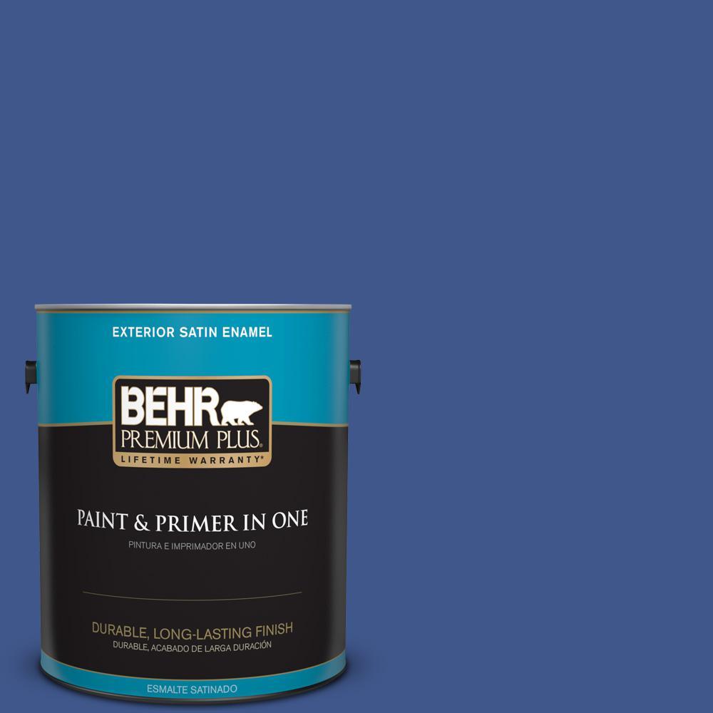 1 gal. #PPU15-03 Dark Cobalt Blue Satin Enamel Exterior Paint