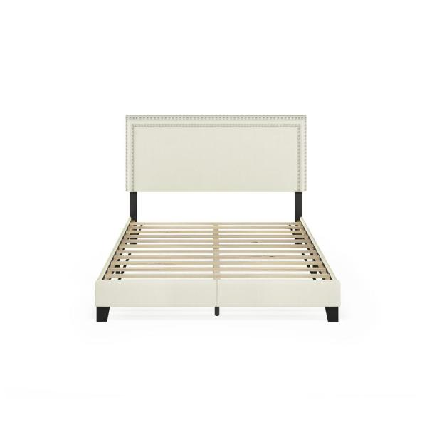 Laval Linen Queen Double Row Nail Head Bed Frame